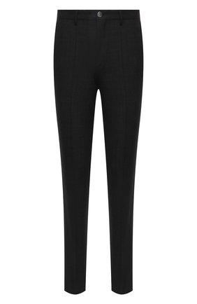 Мужские шерстяные брюки BOSS темно-серого цвета, арт. 50458749 | Фото 1 (Длина (брюки, джинсы): Стандартные; Материал внешний: Шерсть; Случай: Повседневный; Стили: Кэжуэл)