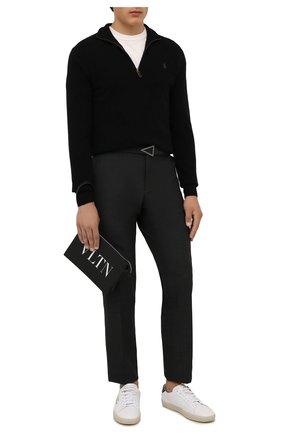 Мужские шерстяные брюки BOSS темно-серого цвета, арт. 50458749 | Фото 2 (Длина (брюки, джинсы): Стандартные; Материал внешний: Шерсть; Случай: Повседневный; Стили: Кэжуэл)