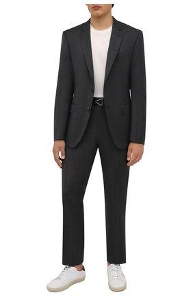 Мужской шерстяной костюм BOSS темно-серого цвета, арт. 50458886   Фото 1 (Материал внешний: Шерсть; Рукава: Длинные; Костюмы М: Однобортный; Стили: Кэжуэл)