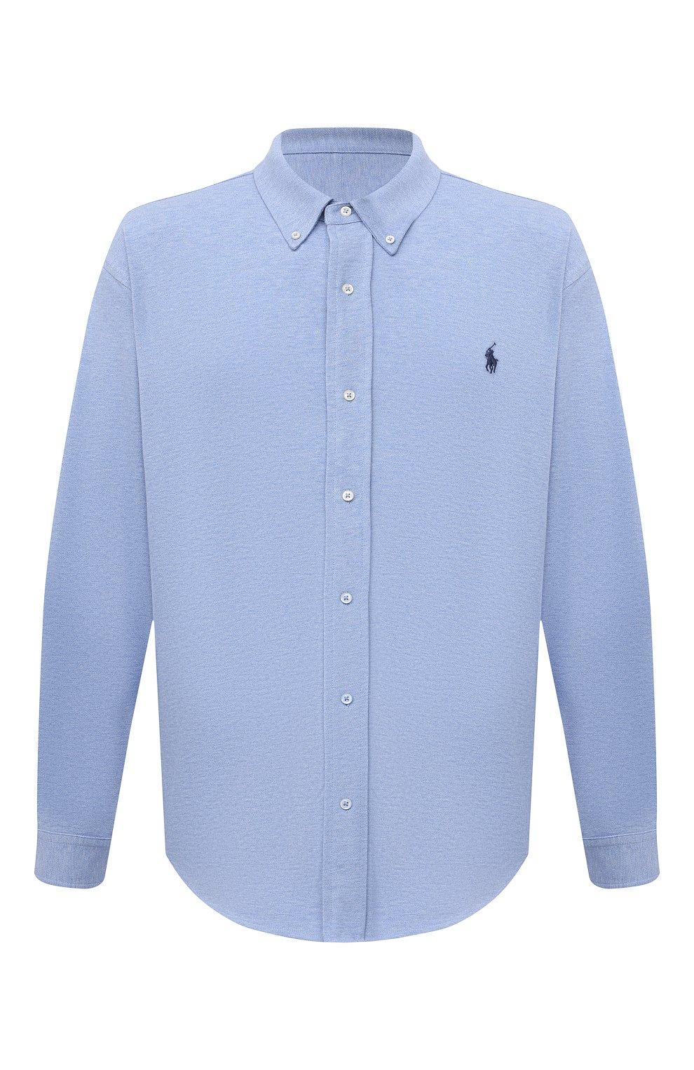 Мужская хлопковая рубашка POLO RALPH LAUREN голубого цвета, арт. 711654408/C7975/PRL BS | Фото 1 (Манжеты: На пуговицах; Воротник: Button down; Big sizes: Big Sizes; Рукава: Длинные; Случай: Повседневный; Длина (для топов): Удлиненные; Материал внешний: Хлопок; Принт: Однотонные; Стили: Кэжуэл)