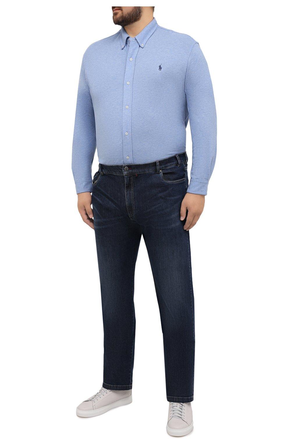 Мужская хлопковая рубашка POLO RALPH LAUREN голубого цвета, арт. 711654408/C7975/PRL BS | Фото 2 (Манжеты: На пуговицах; Воротник: Button down; Big sizes: Big Sizes; Рукава: Длинные; Случай: Повседневный; Длина (для топов): Удлиненные; Материал внешний: Хлопок; Принт: Однотонные; Стили: Кэжуэл)