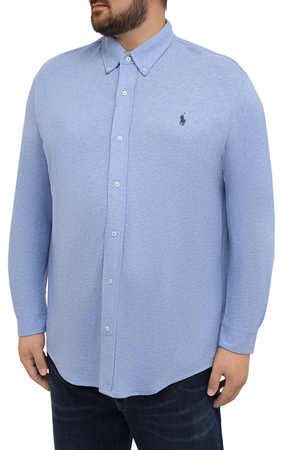 Мужская хлопковая рубашка POLO RALPH LAUREN голубого цвета, арт. 711654408/C7975/PRL BS | Фото 3 (Манжеты: На пуговицах; Воротник: Button down; Big sizes: Big Sizes; Рукава: Длинные; Случай: Повседневный; Длина (для топов): Удлиненные; Материал внешний: Хлопок; Принт: Однотонные; Стили: Кэжуэл)