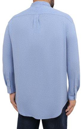 Мужская хлопковая рубашка POLO RALPH LAUREN голубого цвета, арт. 711654408/C7975/PRL BS | Фото 4 (Манжеты: На пуговицах; Воротник: Button down; Big sizes: Big Sizes; Рукава: Длинные; Случай: Повседневный; Длина (для топов): Удлиненные; Материал внешний: Хлопок; Принт: Однотонные; Стили: Кэжуэл)