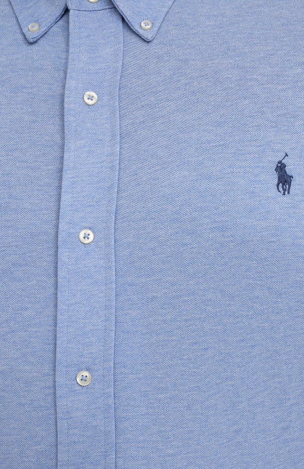 Мужская хлопковая рубашка POLO RALPH LAUREN голубого цвета, арт. 711654408/C7975/PRL BS | Фото 5 (Манжеты: На пуговицах; Воротник: Button down; Big sizes: Big Sizes; Рукава: Длинные; Случай: Повседневный; Длина (для топов): Удлиненные; Материал внешний: Хлопок; Принт: Однотонные; Стили: Кэжуэл)