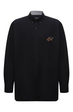 Мужская хлопковая рубашка PAUL&SHARK черного цвета, арт. 11313140/C00/48-50 | Фото 1 (Рукава: Длинные; Материал внешний: Хлопок; Случай: Повседневный; Рубашки М: Regular Fit; Стили: Кэжуэл; Big sizes: Big Sizes; Принт: Однотонные; Воротник: Button down; Длина (для топов): Удлиненные; Манжеты: На пуговицах)