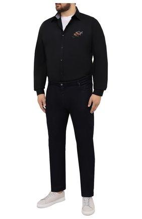 Мужская хлопковая рубашка PAUL&SHARK черного цвета, арт. 11313140/C00/48-50 | Фото 2 (Рукава: Длинные; Материал внешний: Хлопок; Случай: Повседневный; Рубашки М: Regular Fit; Стили: Кэжуэл; Big sizes: Big Sizes; Принт: Однотонные; Воротник: Button down; Длина (для топов): Удлиненные; Манжеты: На пуговицах)