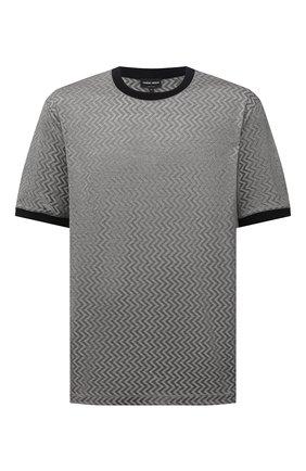 Мужская футболка из хлопка и шелка GIORGIO ARMANI серого цвета, арт. 6KSM59/SJVGZ | Фото 1 (Материал внешний: Хлопок, Шелк; Рукава: Короткие; Стили: Кэжуэл; Длина (для топов): Стандартные; Принт: С принтом)