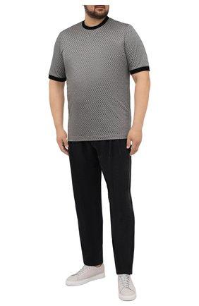 Мужская футболка из хлопка и шелка GIORGIO ARMANI серого цвета, арт. 6KSM59/SJVGZ | Фото 2 (Материал внешний: Хлопок, Шелк; Рукава: Короткие; Стили: Кэжуэл; Длина (для топов): Стандартные; Принт: С принтом)