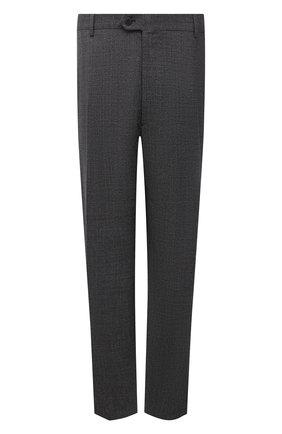 Мужские шерстяные брюки BRIONI темно-серого цвета, арт. RPL20P/09AG8/M0ENA   Фото 1 (Материал подклада: Синтетический материал, Хлопок; Материал внешний: Шерсть; Случай: Повседневный; Big sizes: Big Sizes; Стили: Кэжуэл; Длина (брюки, джинсы): Стандартные)