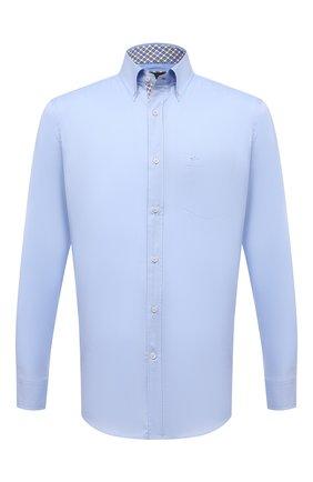 Мужская хлопковая рубашка PAUL&SHARK голубого цвета, арт. 11313040/C00 | Фото 1 (Длина (для топов): Стандартные; Материал внешний: Хлопок; Рукава: Длинные; Случай: Повседневный; Рубашки М: Regular Fit; Стили: Кэжуэл; Принт: Однотонные; Воротник: Button down; Манжеты: На пуговицах)