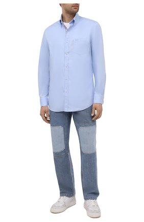 Мужская хлопковая рубашка PAUL&SHARK голубого цвета, арт. 11313040/C00 | Фото 2 (Длина (для топов): Стандартные; Материал внешний: Хлопок; Рукава: Длинные; Случай: Повседневный; Рубашки М: Regular Fit; Стили: Кэжуэл; Принт: Однотонные; Воротник: Button down; Манжеты: На пуговицах)