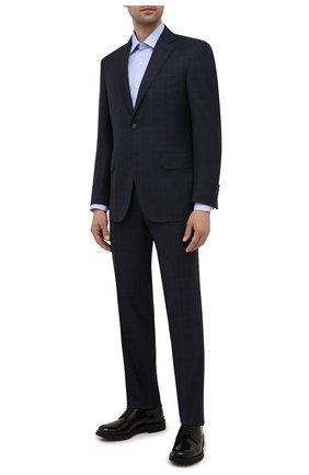 Мужской шерстяной костюм CANALI темно-синего цвета, арт. E13290/31/BX00410   Фото 1 (Материал внешний: Шерсть; Материал подклада: Купро; Рукава: Длинные; Костюмы М: Однобортный; Стили: Классический)