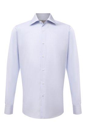 Мужская хлопковая сорочка CANALI голубого цвета, арт. 7705/GX02035   Фото 1 (Материал внешний: Хлопок; Рукава: Длинные; Длина (для топов): Стандартные; Случай: Формальный; Рубашки М: Regular Fit; Стили: Классический; Манжеты: На пуговицах; Принт: Клетка; Воротник: Акула)