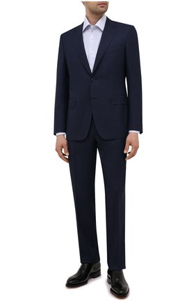 Мужская хлопковая сорочка CANALI голубого цвета, арт. 7705/GX02035   Фото 2 (Материал внешний: Хлопок; Рукава: Длинные; Длина (для топов): Стандартные; Случай: Формальный; Рубашки М: Regular Fit; Стили: Классический; Манжеты: На пуговицах; Принт: Клетка; Воротник: Акула)