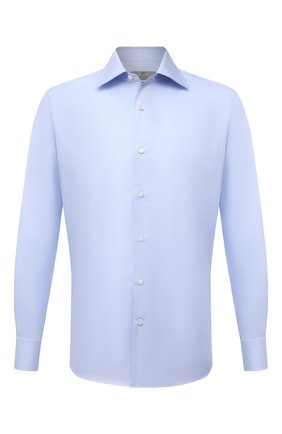 Мужская хлопковая сорочка CANALI голубого цвета, арт. 7705/GX02031   Фото 1 (Материал внешний: Хлопок; Случай: Формальный; Рубашки М: Regular Fit; Рукава: Длинные; Стили: Классический; Длина (для топов): Стандартные; Манжеты: На пуговицах; Принт: Однотонные; Воротник: Акула)