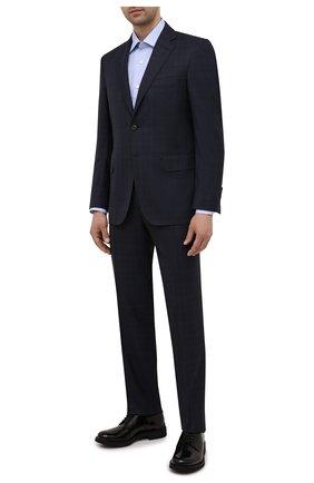 Мужская хлопковая сорочка CANALI голубого цвета, арт. 7705/GX02031   Фото 2 (Материал внешний: Хлопок; Случай: Формальный; Рубашки М: Regular Fit; Рукава: Длинные; Стили: Классический; Длина (для топов): Стандартные; Манжеты: На пуговицах; Принт: Однотонные; Воротник: Акула)