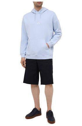 Мужские кожаные кеды BRUNELLO CUCINELLI синего цвета, арт. MZUALMN272 | Фото 2 (Подошва: Плоская; Материал утеплителя: Натуральный мех; Материал внутренний: Натуральная кожа)