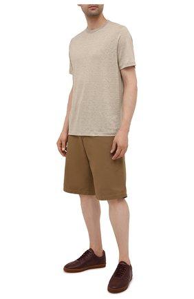 Мужские кожаные кеды BRUNELLO CUCINELLI бордового цвета, арт. MZULNMN272 | Фото 2 (Подошва: Плоская; Материал утеплителя: Натуральный мех)