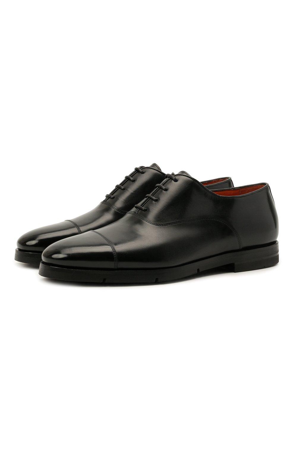 Мужские кожаные оксфорды SANTONI черного цвета, арт. MCCG17756SI5EVRTN01   Фото 1 (Материал внутренний: Натуральная кожа; Стили: Классический)