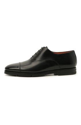 Мужские кожаные оксфорды SANTONI черного цвета, арт. MCCG17756SI5EVRTN01   Фото 3 (Материал внутренний: Натуральная кожа; Стили: Классический)