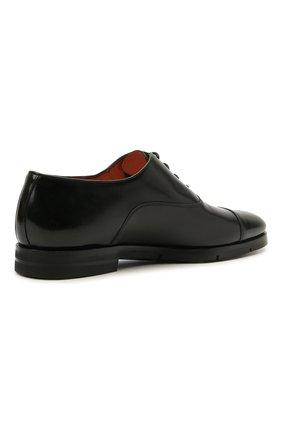Мужские кожаные оксфорды SANTONI черного цвета, арт. MCCG17756SI5EVRTN01   Фото 4 (Материал внутренний: Натуральная кожа; Стили: Классический)