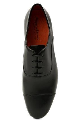 Мужские кожаные оксфорды SANTONI черного цвета, арт. MCCG17756SI5EVRTN01   Фото 5 (Материал внутренний: Натуральная кожа; Стили: Классический)