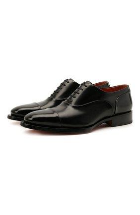 Мужские кожаные оксфорды SANTONI черного цвета, арт. MCLG17757BB8IVVDN01 | Фото 1