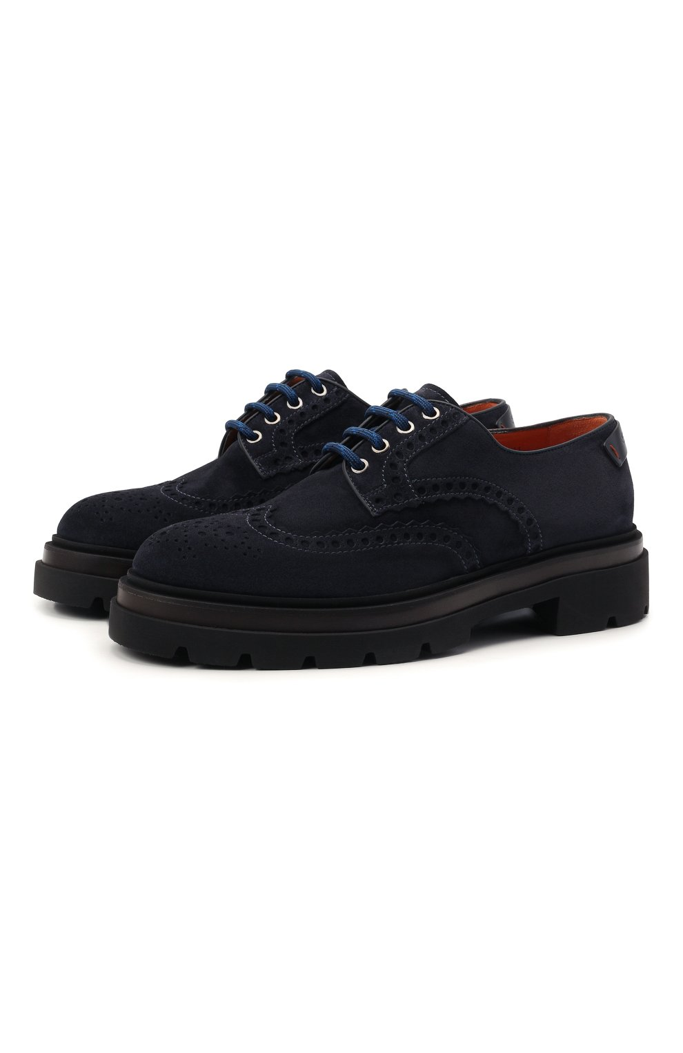 Мужские замшевые дерби SANTONI темно-синего цвета, арт. MGMG17800JK4ESLUU60 | Фото 1 (Мужское Кросс-КТ: Броги-обувь; Материал внутренний: Натуральная кожа; Стили: Классический; Материал внешний: Замша)