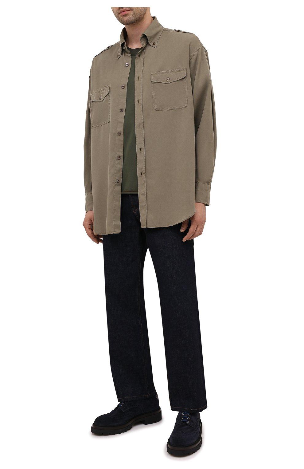 Мужские замшевые дерби SANTONI темно-синего цвета, арт. MGMG17800JK4ESLUU60 | Фото 2 (Мужское Кросс-КТ: Броги-обувь; Материал внутренний: Натуральная кожа; Стили: Классический; Материал внешний: Замша)