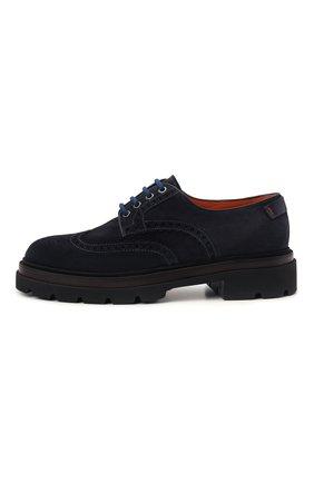 Мужские замшевые дерби SANTONI темно-синего цвета, арт. MGMG17800JK4ESLUU60 | Фото 3 (Мужское Кросс-КТ: Броги-обувь; Материал внутренний: Натуральная кожа; Стили: Классический; Материал внешний: Замша)