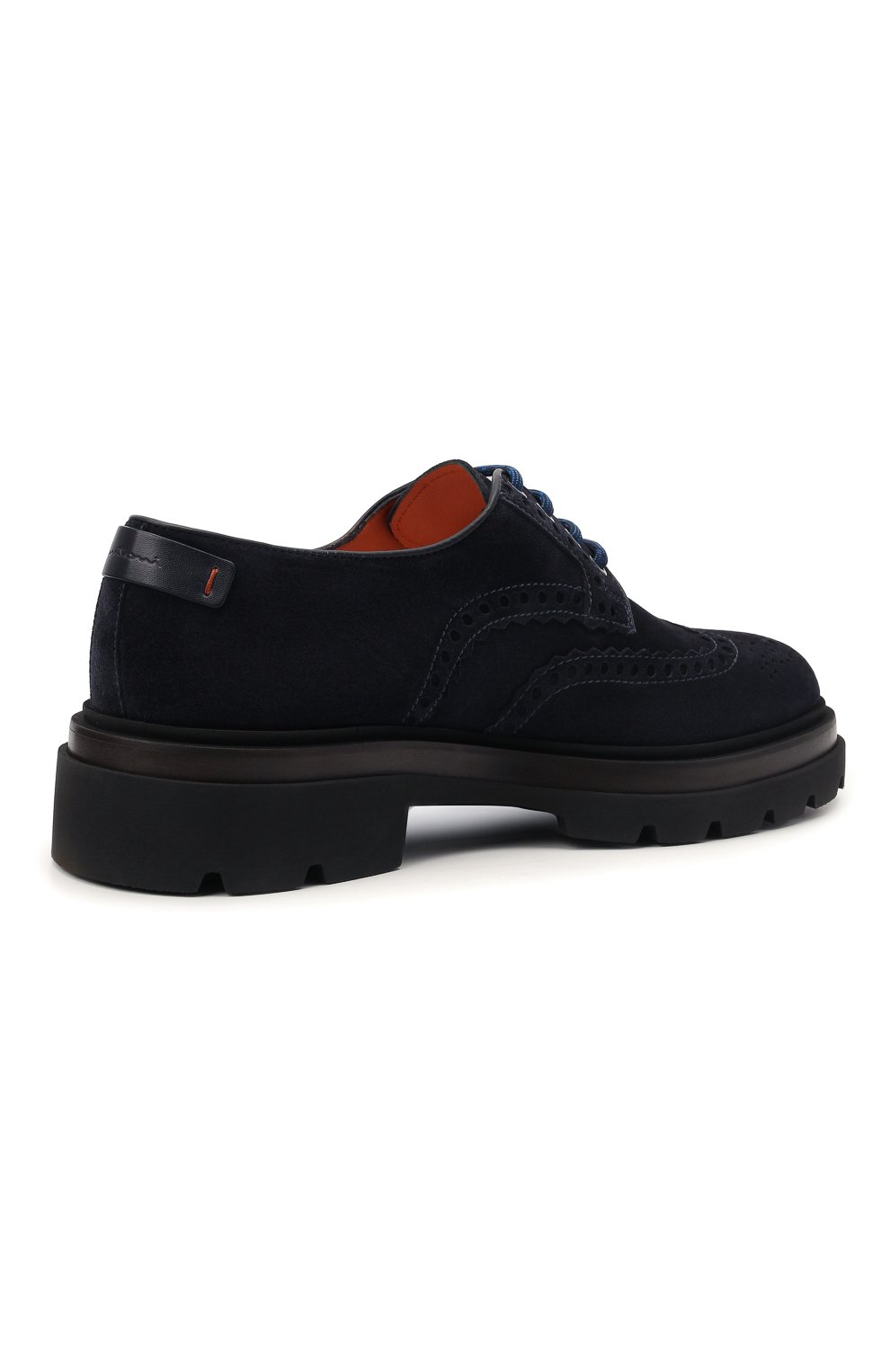 Мужские замшевые дерби SANTONI темно-синего цвета, арт. MGMG17800JK4ESLUU60 | Фото 4 (Мужское Кросс-КТ: Броги-обувь; Материал внутренний: Натуральная кожа; Стили: Классический; Материал внешний: Замша)