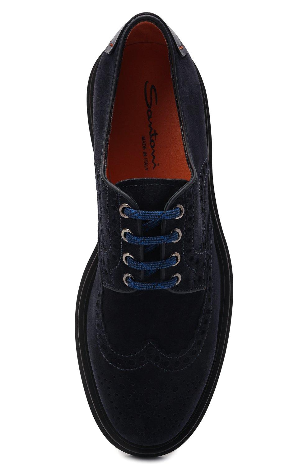 Мужские замшевые дерби SANTONI темно-синего цвета, арт. MGMG17800JK4ESLUU60 | Фото 5 (Мужское Кросс-КТ: Броги-обувь; Материал внутренний: Натуральная кожа; Стили: Классический; Материал внешний: Замша)