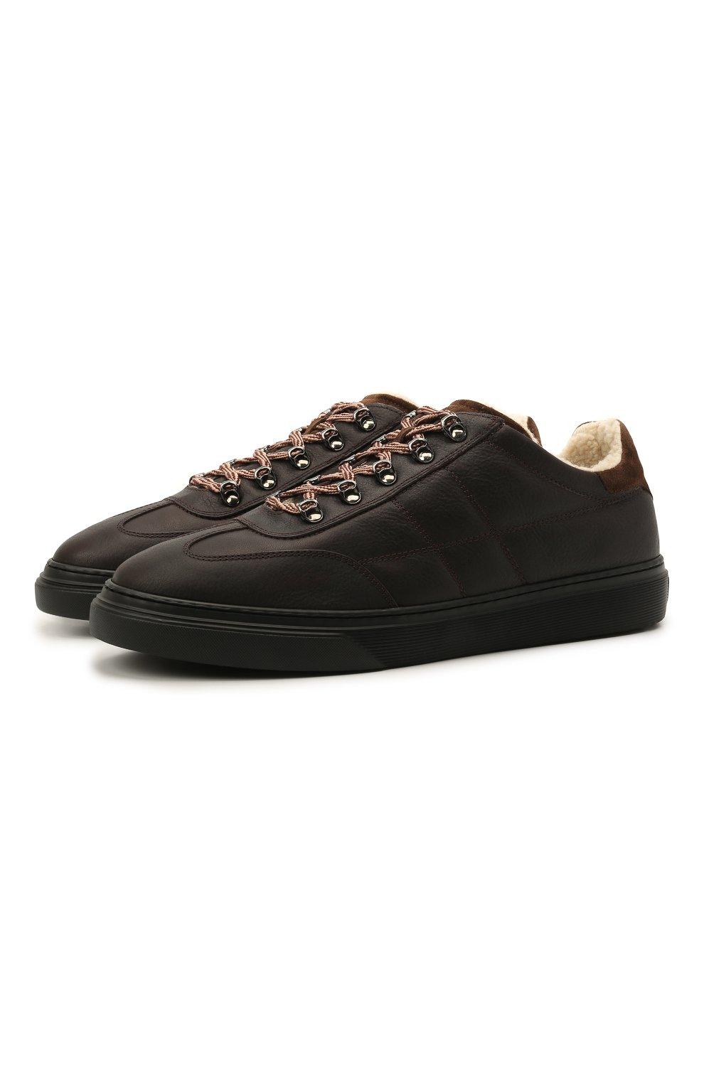 Мужские кожаные кеды HOGAN темно-коричневого цвета, арт. HXM3650AP71QCZ   Фото 1 (Материал внутренний: Текстиль; Подошва: Массивная)