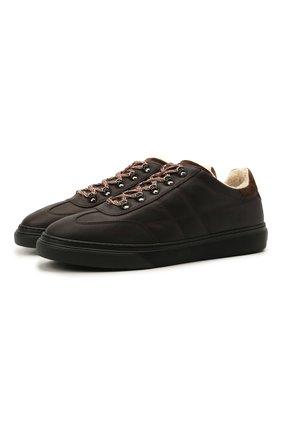 Мужские кожаные кеды HOGAN темно-коричневого цвета, арт. HXM3650AP71QCZ | Фото 1