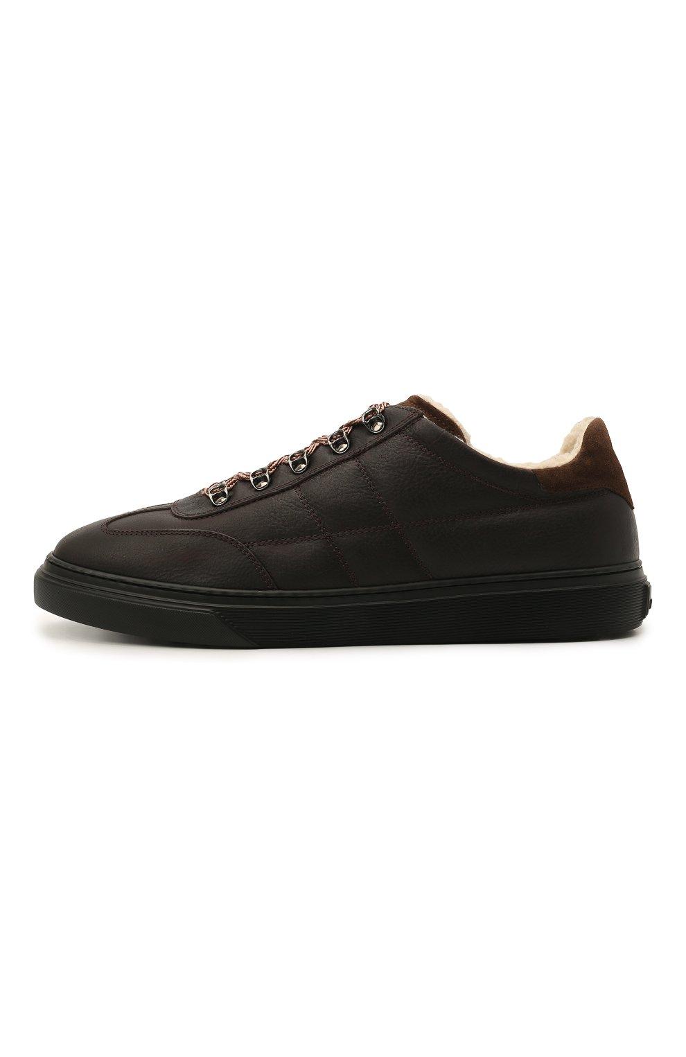 Мужские кожаные кеды HOGAN темно-коричневого цвета, арт. HXM3650AP71QCZ   Фото 3 (Материал внутренний: Текстиль; Подошва: Массивная)