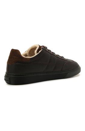 Мужские кожаные кеды HOGAN темно-коричневого цвета, арт. HXM3650AP71QCZ   Фото 4 (Материал внутренний: Текстиль; Подошва: Массивная)