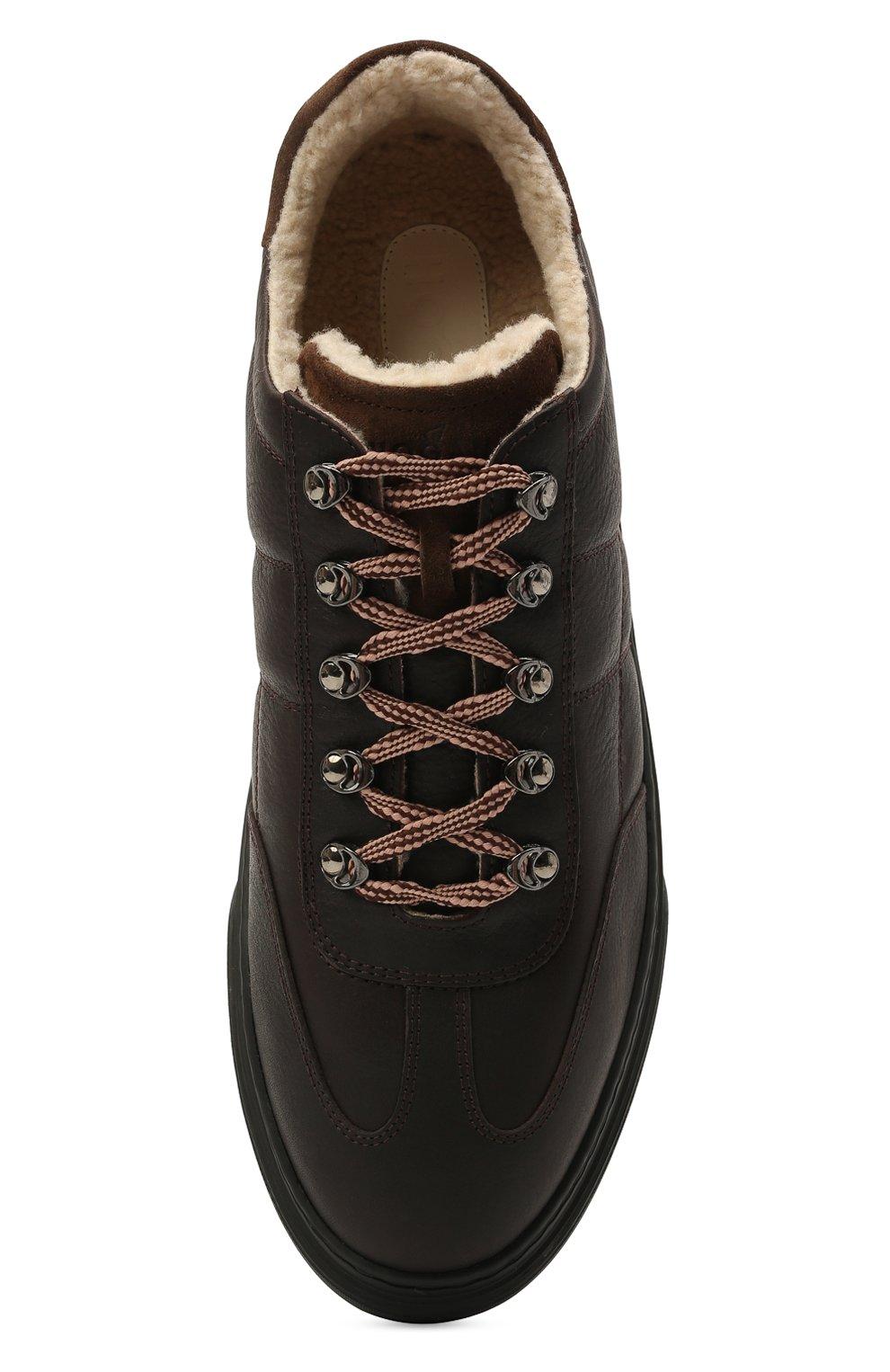 Мужские кожаные кеды HOGAN темно-коричневого цвета, арт. HXM3650AP71QCZ   Фото 5 (Материал внутренний: Текстиль; Подошва: Массивная)