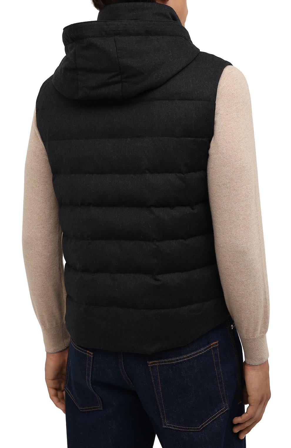 Мужской пуховый жилет KIRED темно-серого цвета, арт. WKISHBW7405003000 | Фото 4 (Кросс-КТ: Куртка, Пуховик; Материал внешний: Шерсть; Материал подклада: Синтетический материал; Длина (верхняя одежда): Короткие; Материал утеплителя: Пух и перо; Стили: Кэжуэл)