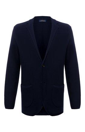 Мужской пиджак из хлопка и шелка POLO RALPH LAUREN темно-синего цвета, арт. 710843151   Фото 1