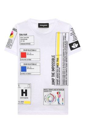 Детская хлопковая футболка DSQUARED2 белого цвета, арт. DQ0314-D004G | Фото 1