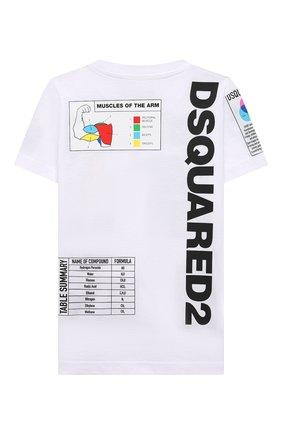 Детская хлопковая футболка DSQUARED2 белого цвета, арт. DQ0314-D004G | Фото 2