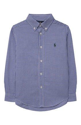 Детская хлопковая рубашка POLO RALPH LAUREN голубого цвета, арт. 321845293 | Фото 1