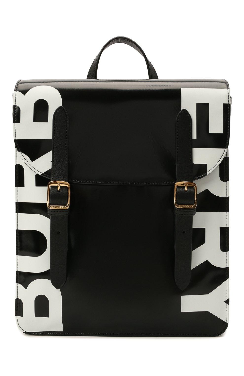 Детская портфель satchel BURBERRY черного цвета, арт. 8041146   Фото 1 (Материал: Текстиль)