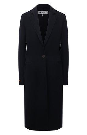 Женское пальто из шерсти и кашемира LOEWE темно-синего цвета, арт. S359336XCR | Фото 1 (Длина (верхняя одежда): До колена; Рукава: Длинные; Материал внешний: Шерсть; Стили: Кэжуэл; 1-2-бортные: Однобортные)