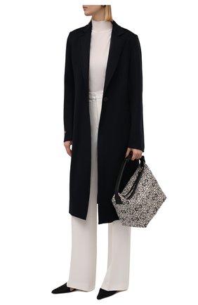 Женское пальто из шерсти и кашемира LOEWE темно-синего цвета, арт. S359336XCR | Фото 2 (Длина (верхняя одежда): До колена; Рукава: Длинные; Материал внешний: Шерсть; Стили: Кэжуэл; 1-2-бортные: Однобортные)