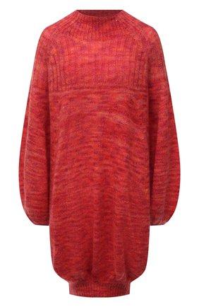 Женский свитер LOEWE красного цвета, арт. S359Y14K05 | Фото 1 (Рукава: Длинные; Материал внешний: Шерсть; Стили: Романтичный; Женское Кросс-КТ: Свитер-одежда; Длина (для топов): Удлиненные)