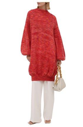 Женский свитер LOEWE красного цвета, арт. S359Y14K05 | Фото 2 (Рукава: Длинные; Материал внешний: Шерсть; Стили: Романтичный; Женское Кросс-КТ: Свитер-одежда; Длина (для топов): Удлиненные)