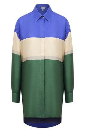 Женская шелковая рубашка LOEWE разноцветного цвета, арт. S359337XE8 | Фото 1 (Материал внешний: Шелк; Рукава: Длинные; Женское Кросс-КТ: Рубашка-одежда; Длина (для топов): Удлиненные; Принт: С принтом)