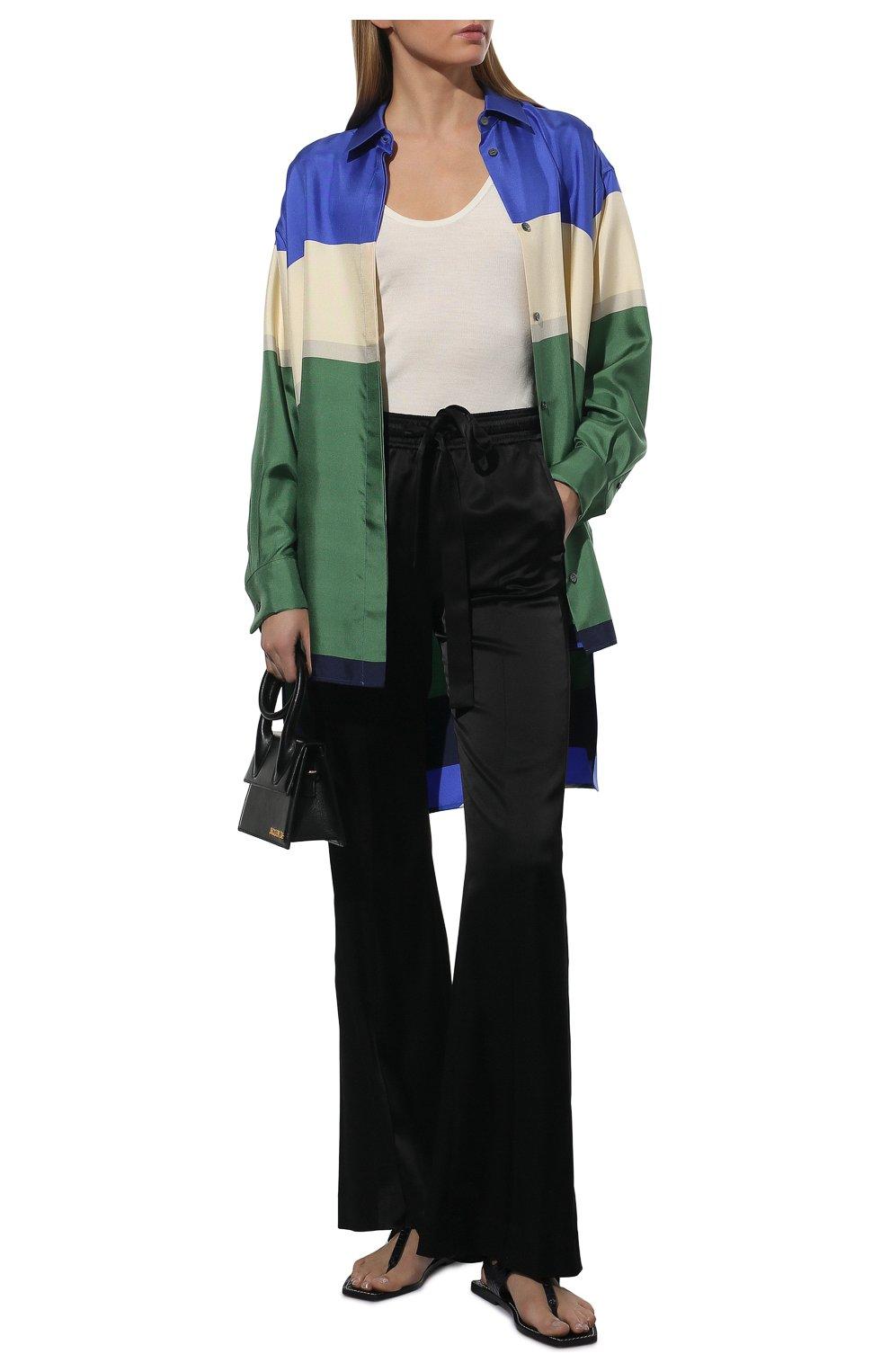 Женская шелковая рубашка LOEWE разноцветного цвета, арт. S359337XE8 | Фото 2 (Материал внешний: Шелк; Рукава: Длинные; Женское Кросс-КТ: Рубашка-одежда; Принт: С принтом; Длина (для топов): Удлиненные)