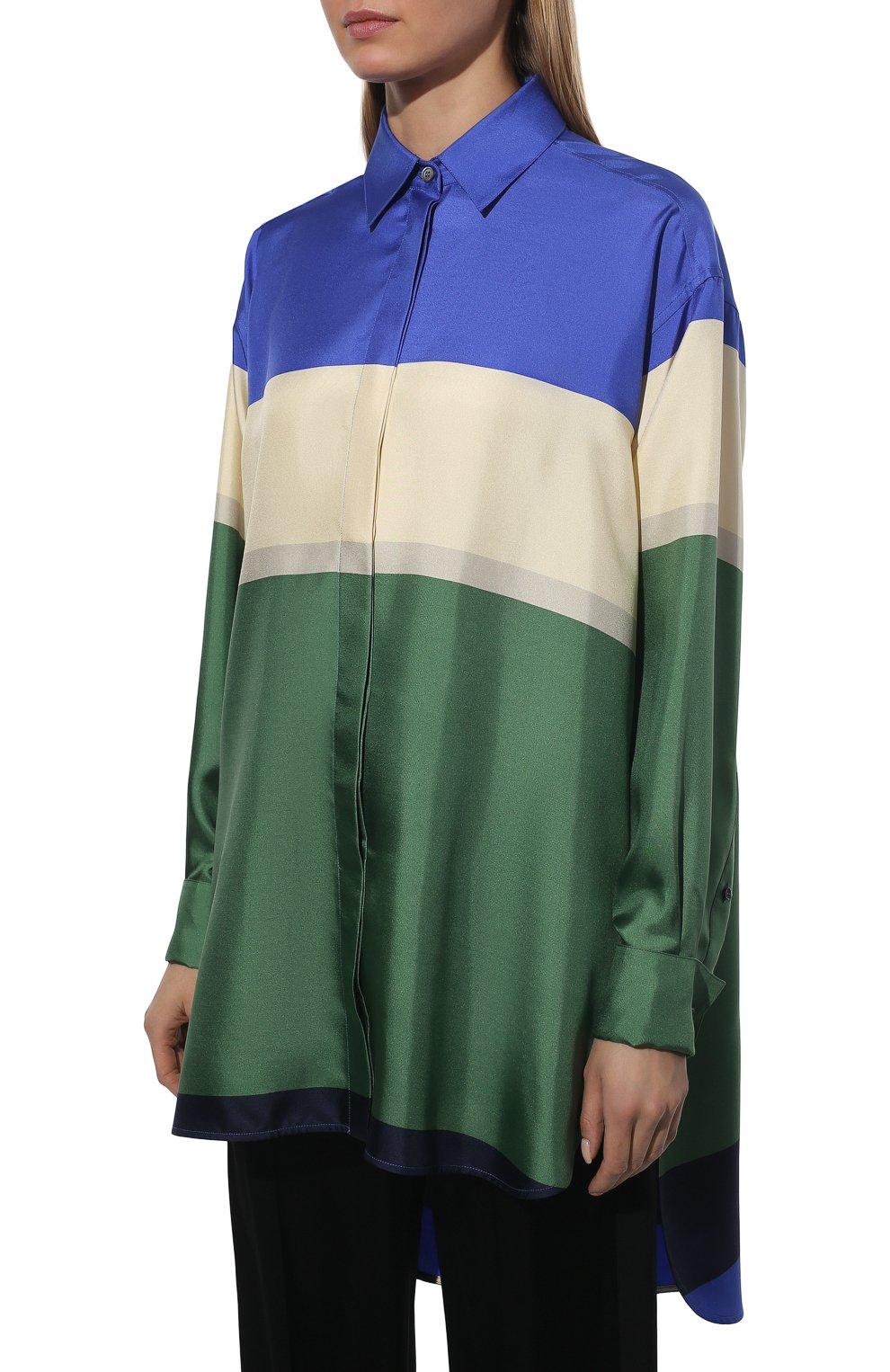 Женская шелковая рубашка LOEWE разноцветного цвета, арт. S359337XE8 | Фото 3 (Материал внешний: Шелк; Рукава: Длинные; Женское Кросс-КТ: Рубашка-одежда; Принт: С принтом; Длина (для топов): Удлиненные)